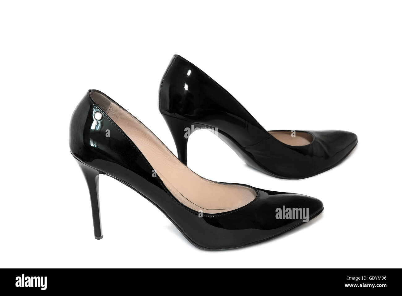 006db94c2a4e Beautiful elegant shoes for women black patent leather high heels.  Presented on a white background