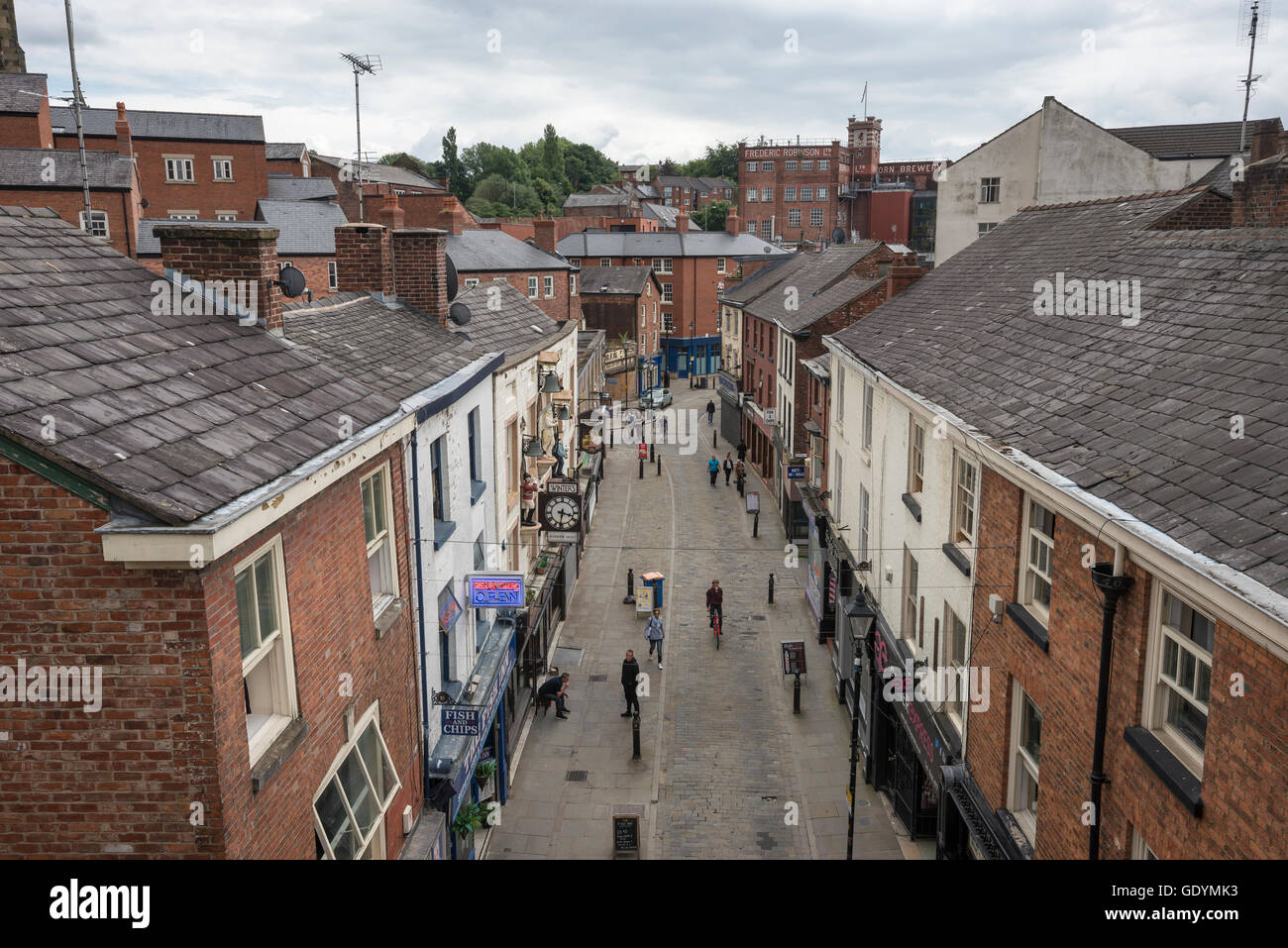 Overhead view of a shopping street in the town of Stockport, Greater Manchester. - Stock Image