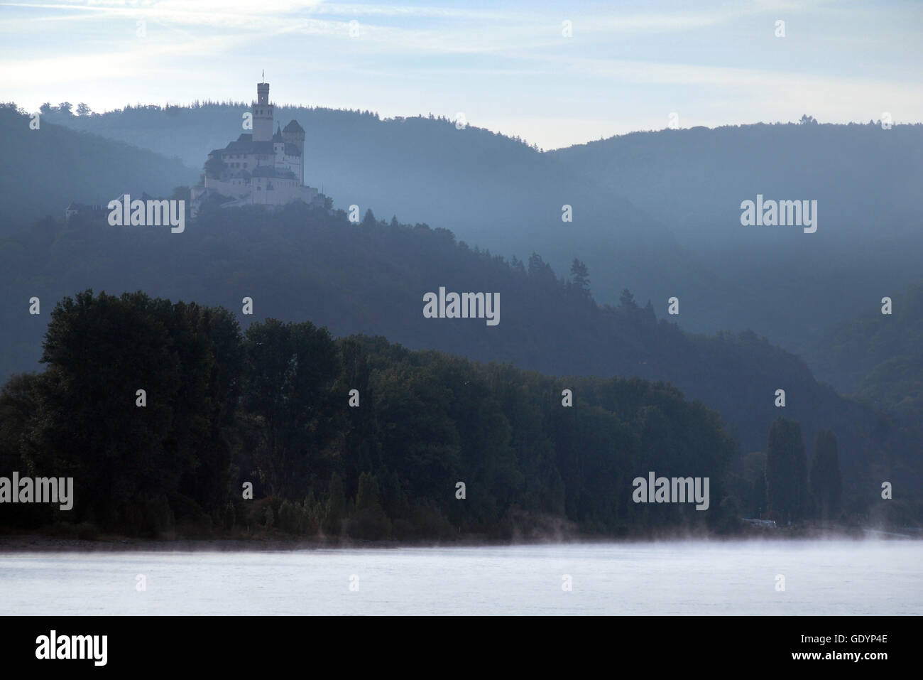 The Marksburg castle overlooking the river Rhine, Germany - Stock Image