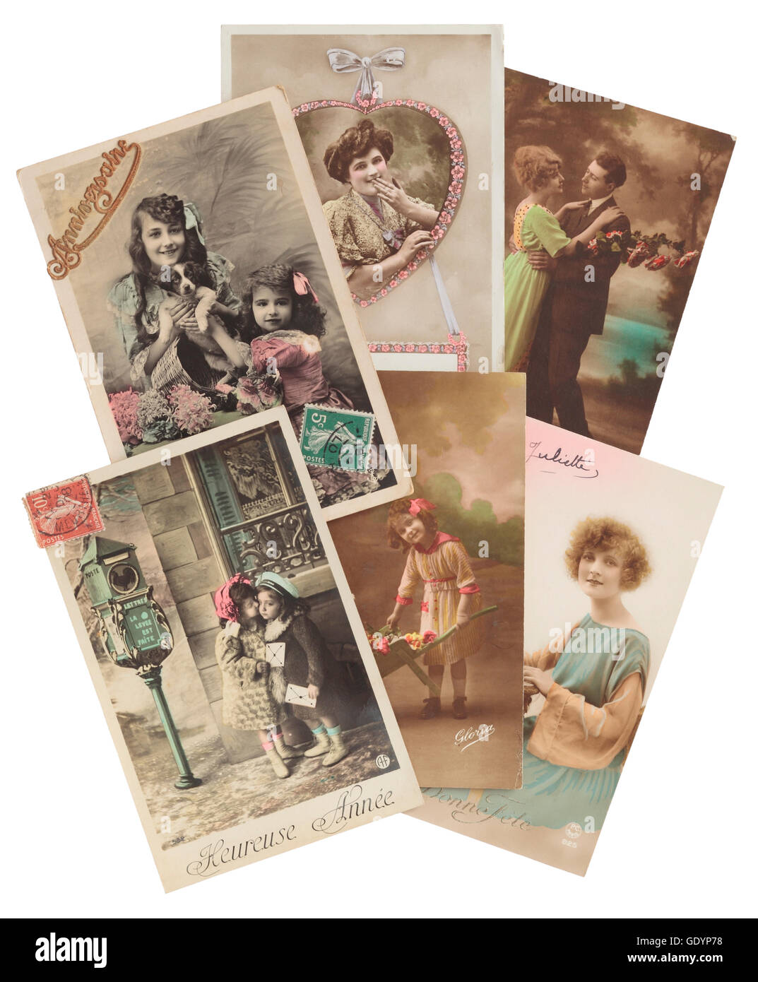 Vintage French postcards from around 1908 Stock Photo