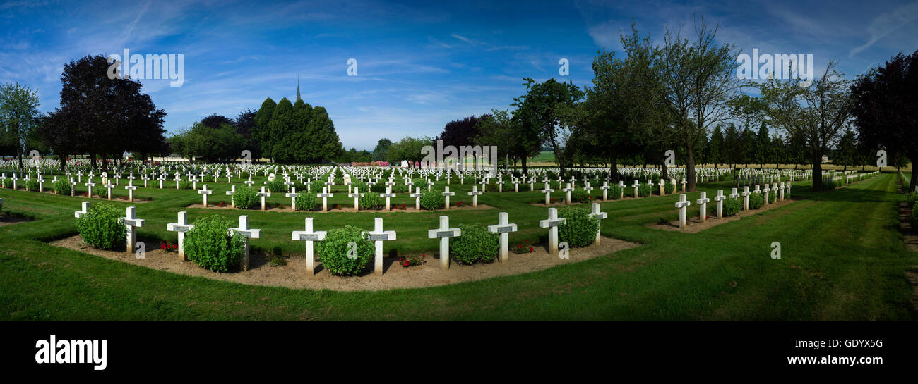 Somme Battlefield, France. Somme WW1 Battlefield, July 1st-November 1916, France. July 2016 French Cemetery at Rancourt - Stock Image