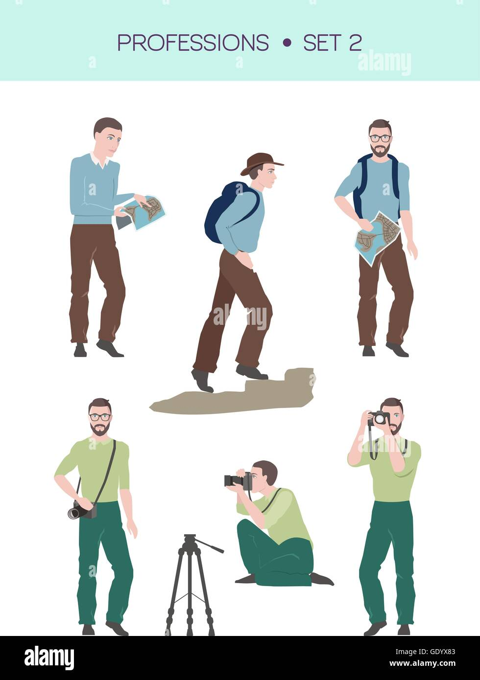 Group of travellers vector set - Stock Vector