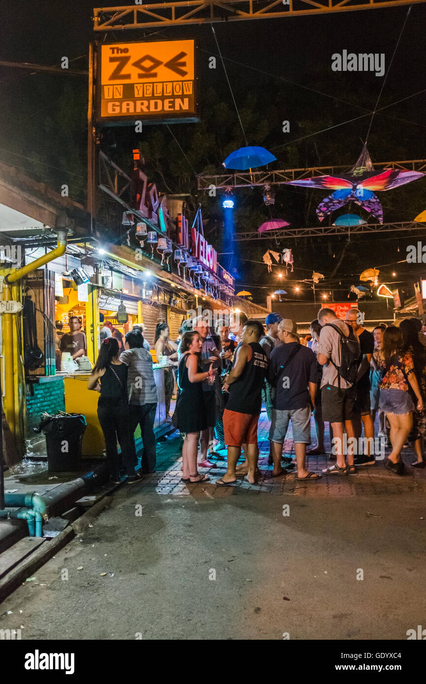 Revellers Standing Outside Zoe In Yellow Bar Night Life Chiang Stock