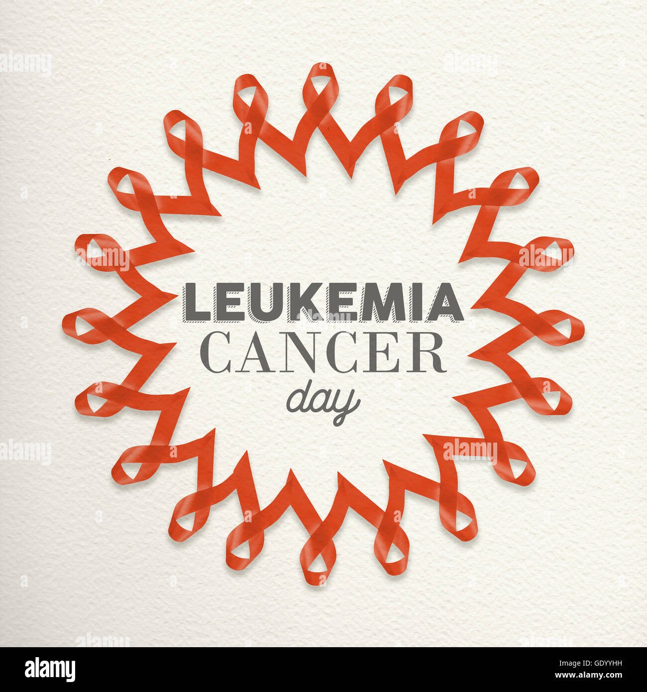 Leukemia cancer day mandala made of orange ribbons with typography for awareness support. - Stock Image