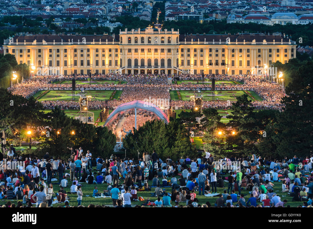 Wien, Vienna: Summer Night Concert of the Vienna Philharmonic in the park of Schönbrunn Palace, Austria, Wien, - Stock Image