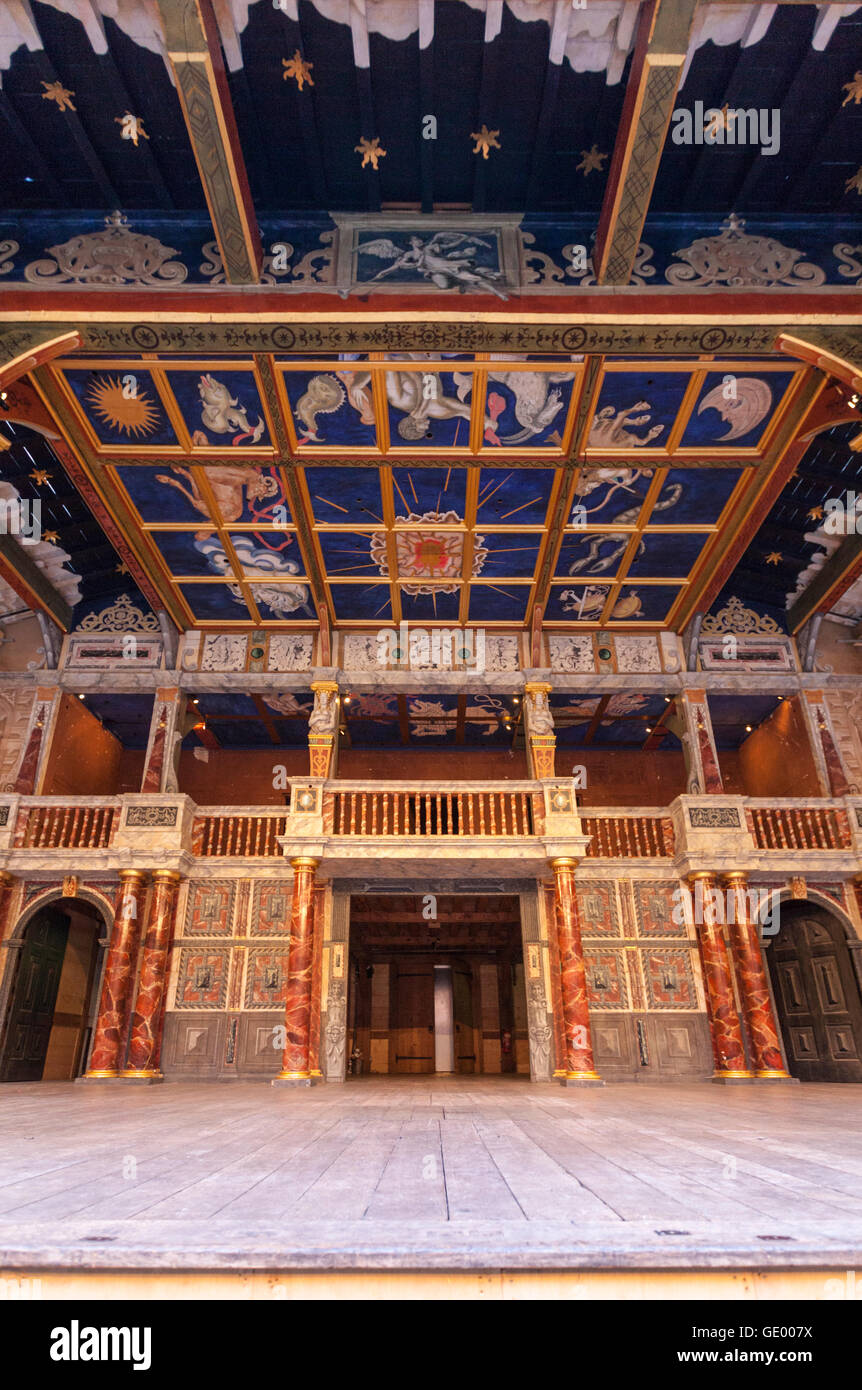 The Globe Theatre stage in London, England - Stock Image