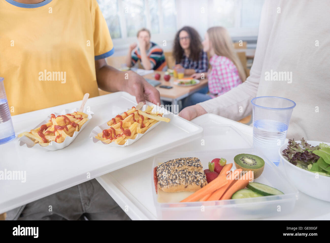 University students having lunch in canteen, Bavaria, Germany Stock Photo