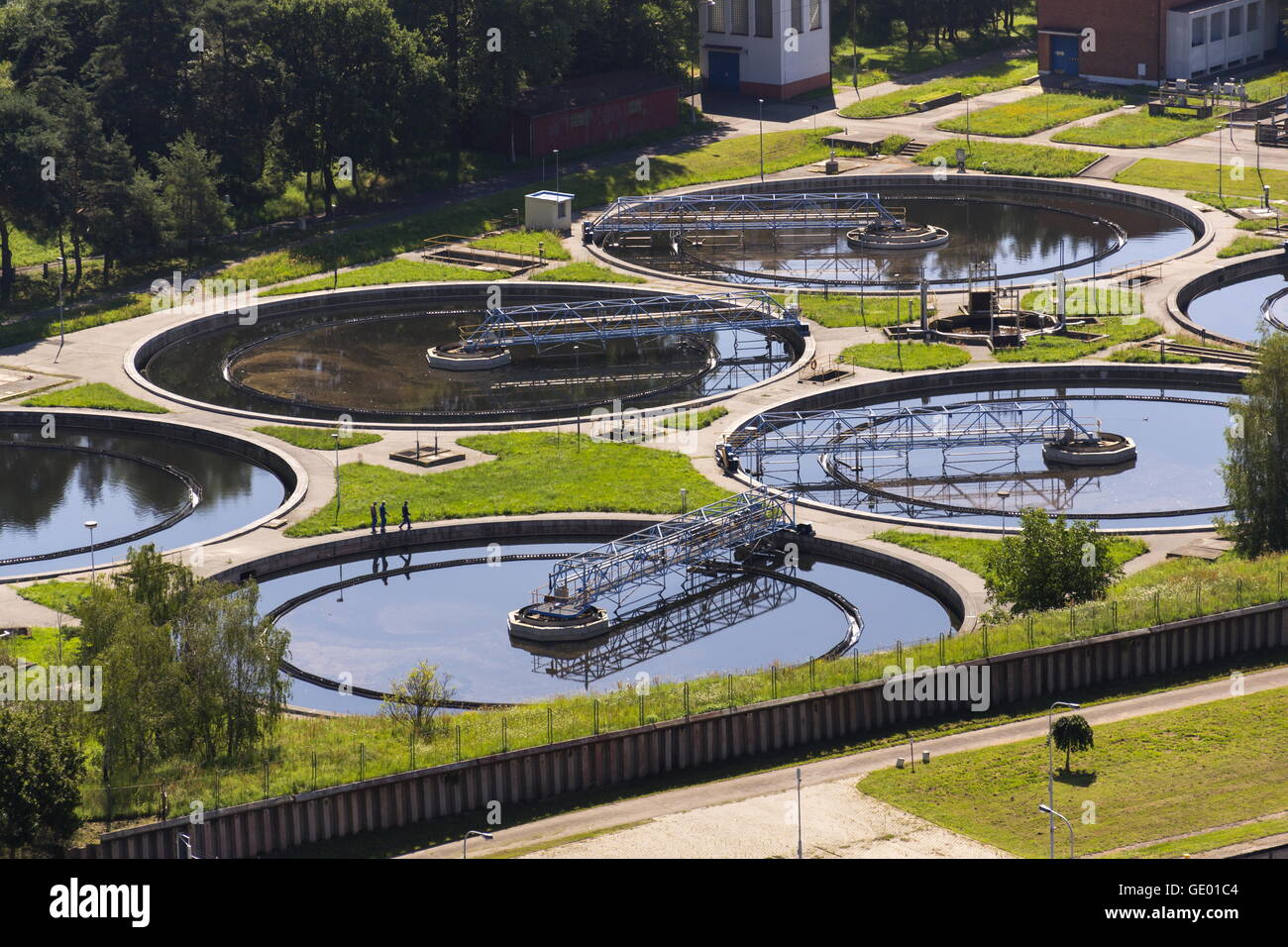 Aerial View Of Storage Tanks In Sewage Water Treatment Plant Stock Photo Alamy