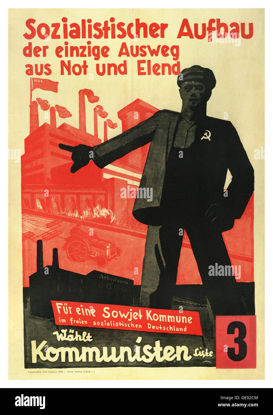 WW2 1930's Nazi Germany anti-communist propaganda poster series saying communism brings misery - Stock Image