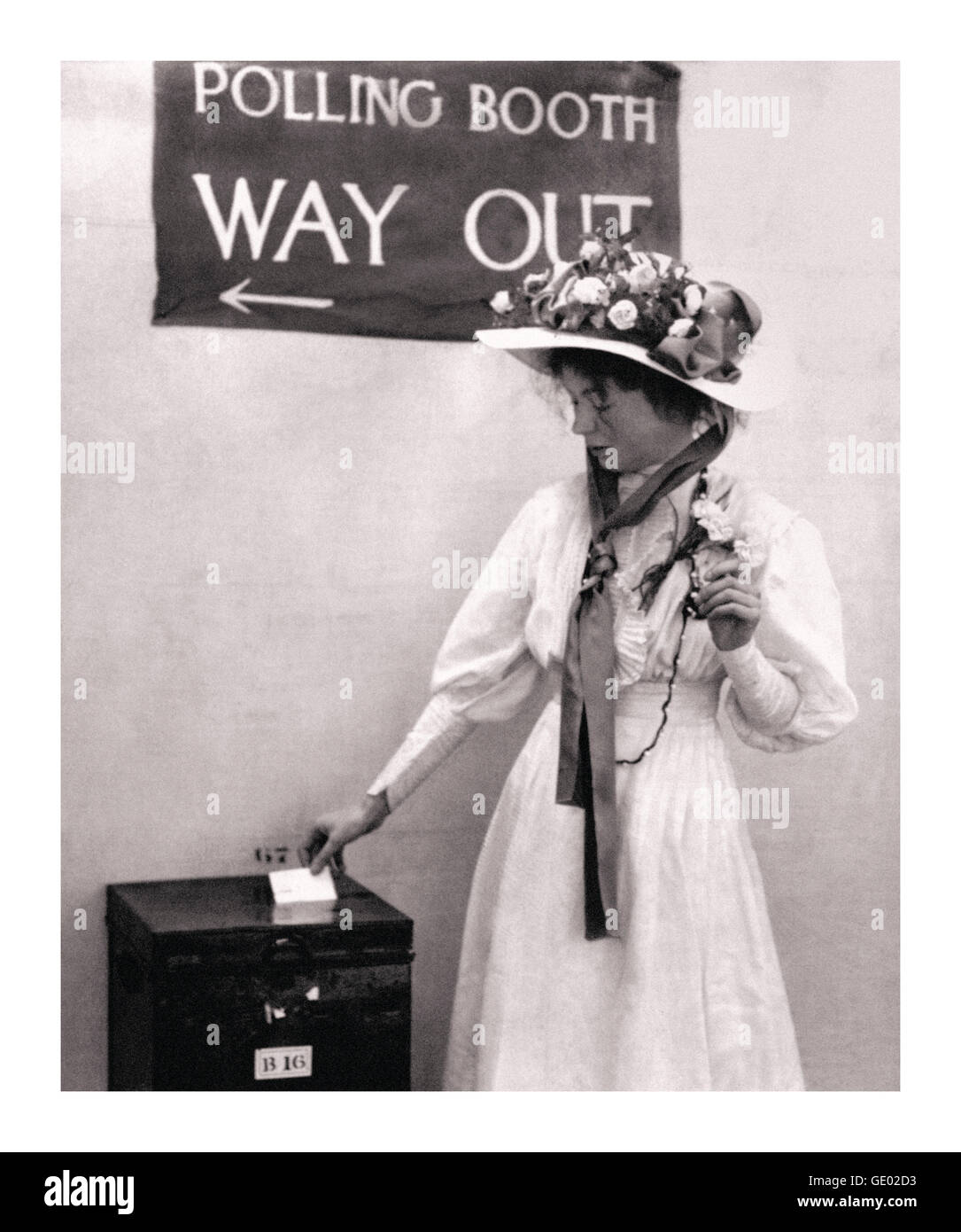 Suffragette movement Emmeline Pankhurst in a polling booth circa 1910. She was a motivational leader of the movement - Stock Image