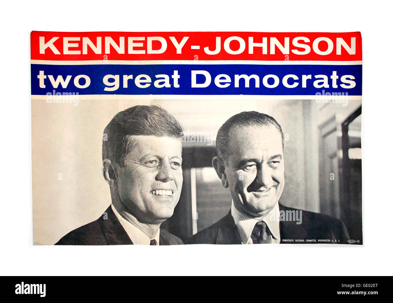 Historic vintage 1960 campaign poster for JFK Kennedy & Lyndon Baines Johnson for President & Vice President for Stock Photo