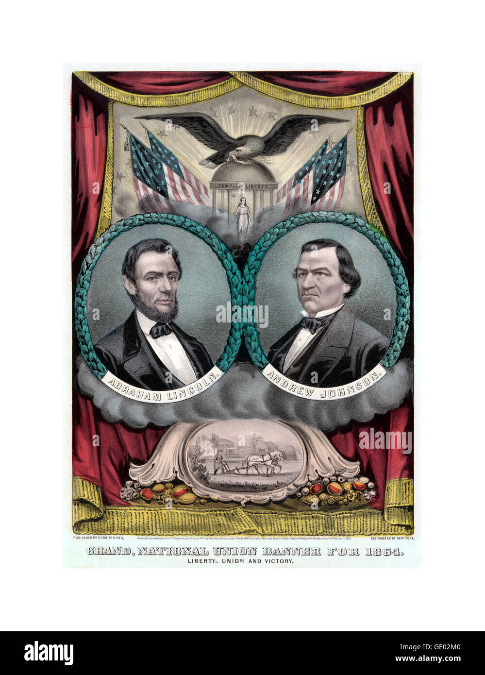 United States Republican presidential ticket, 1864 poster shows a campaign banner for Republican presidential candidate - Stock Image