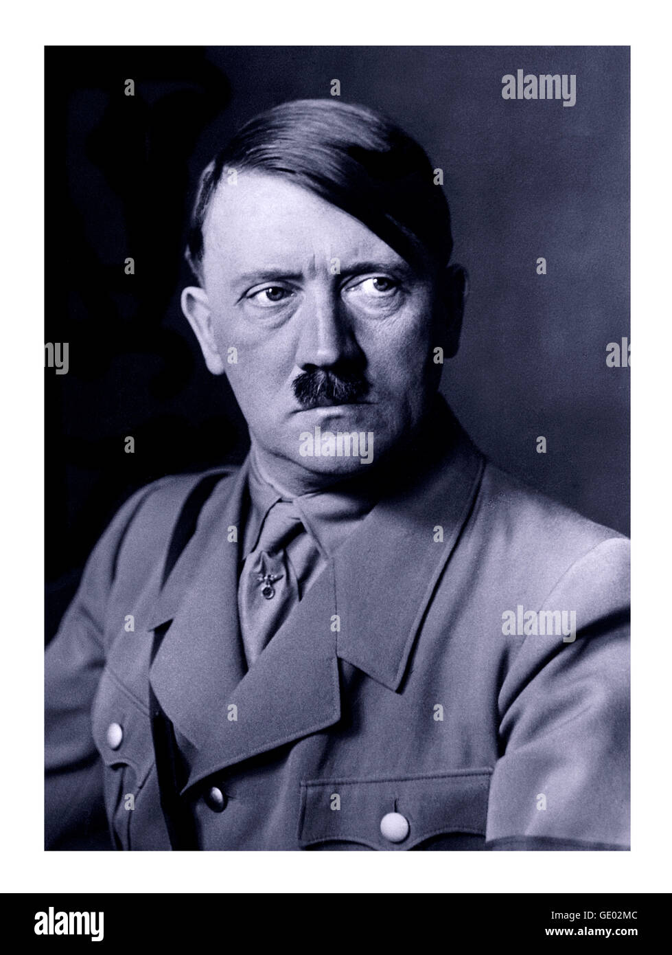 1930's formal B&W portrait of Adolf Hitler in uniform from which a renowned oil painting portrait was made - Stock Image