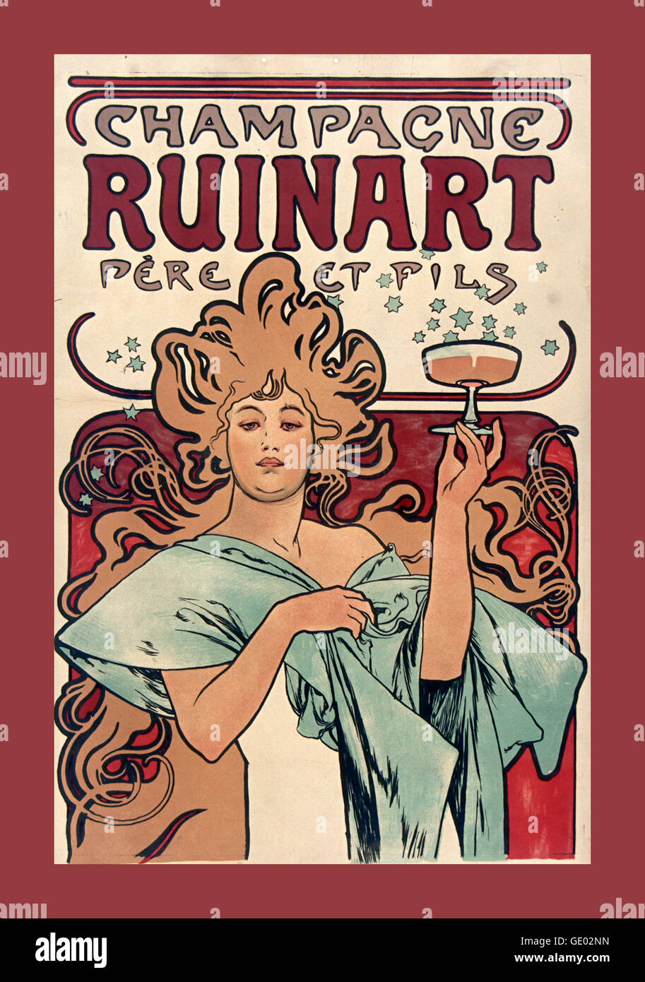 1900s vintage art deco poster featuring ruinart champagne house exclusively producing champagne since 1729 founded by nicolas ruinart in the champagne