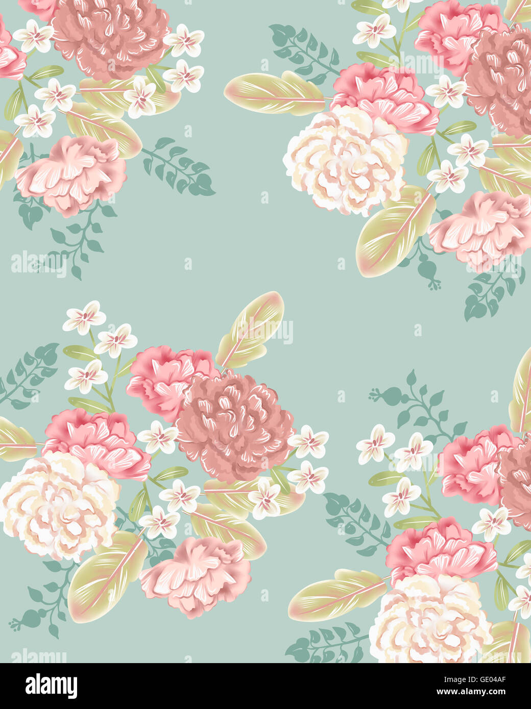 Patterns Of Pink Flowers And Leaves Against Pastel Blue For Diary