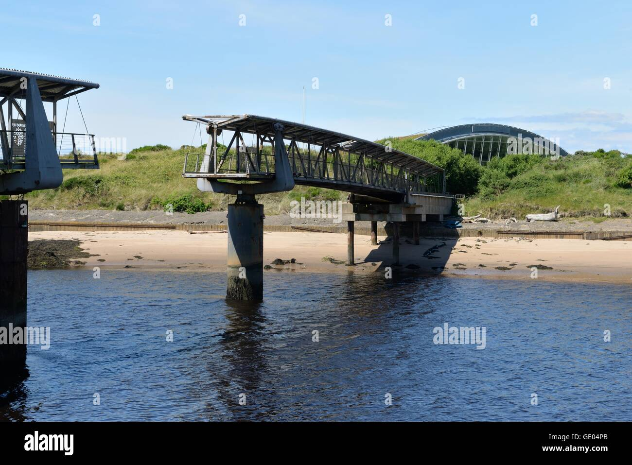 The incomplete pedestrian bridge over the river Irvine to the Ardeer Peninsula and the currently closed 'Big - Stock Image