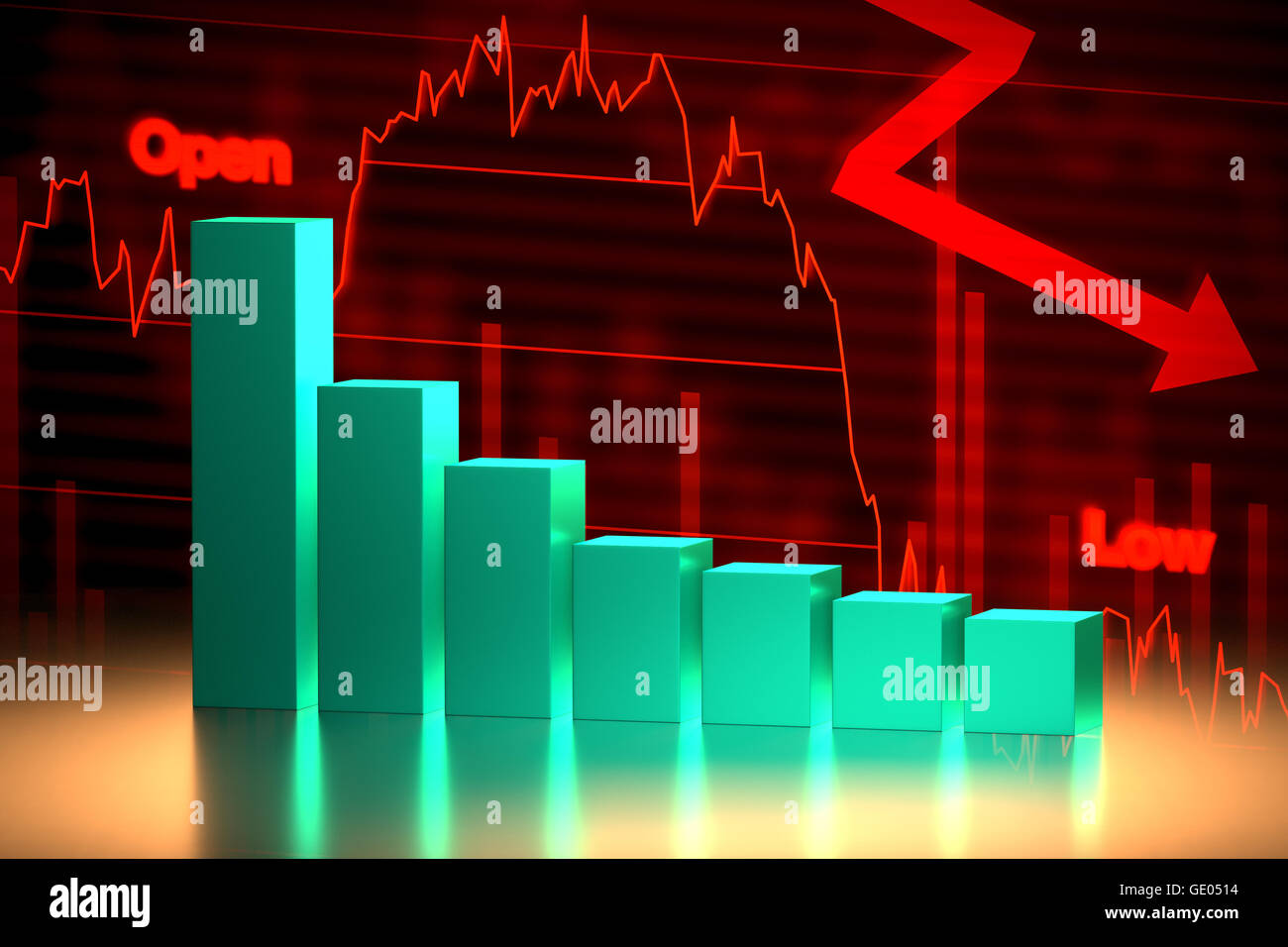 3D rendering of bear stock market chart with downward trend. - Stock Image