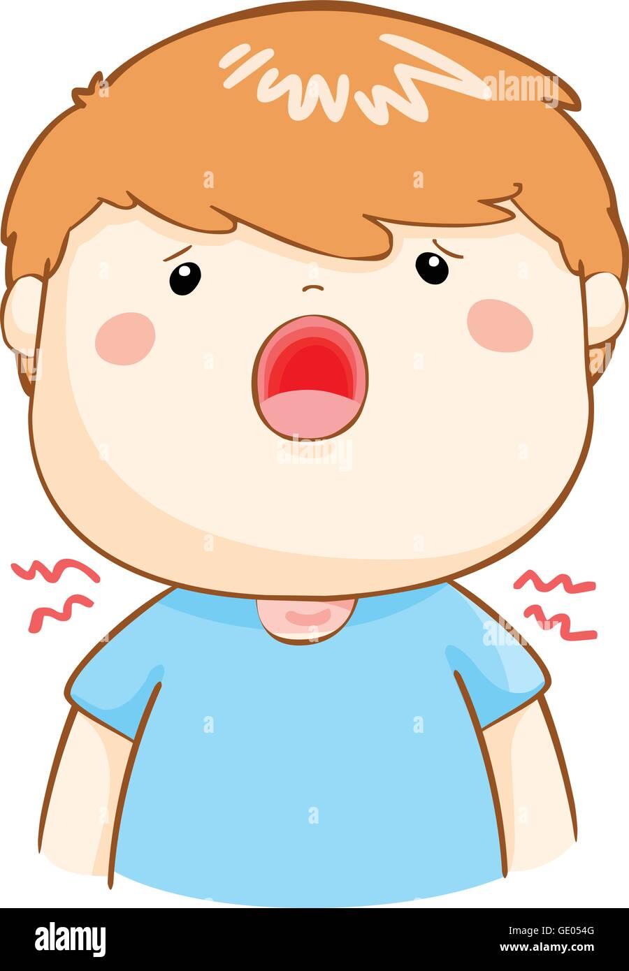 Ill Boy Sore Throat Because Flu Disease Vector Stock ...