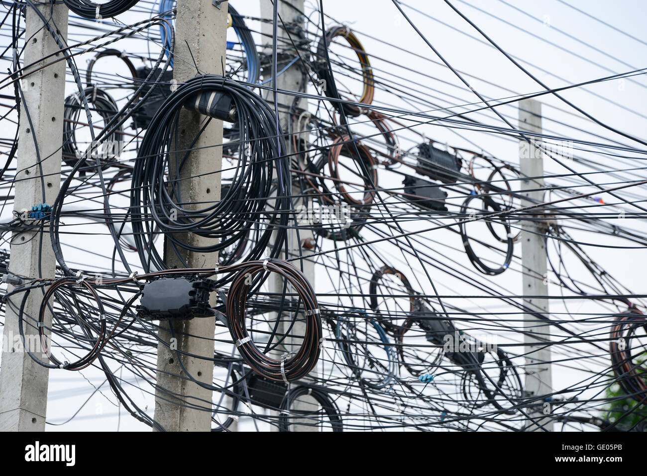 Messy Electrical Cables Wires On Stock Photos P B Wiring Pole Image