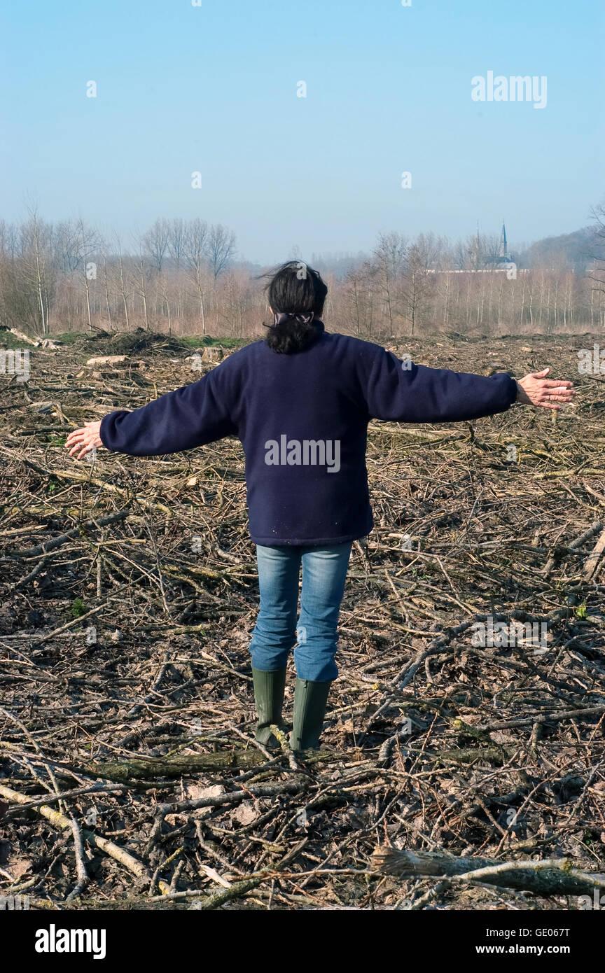 Woman ans natural disaster - Stock Image