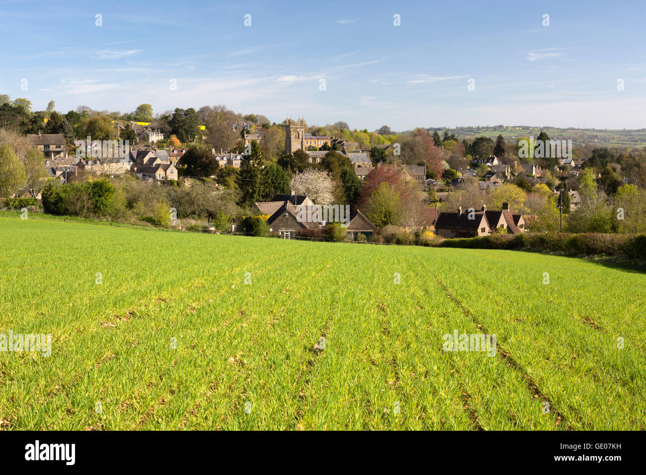 View over Cotswold village, Blockley, Cotswolds, Gloucestershire, England, United Kingdom, Europe Stock Photo