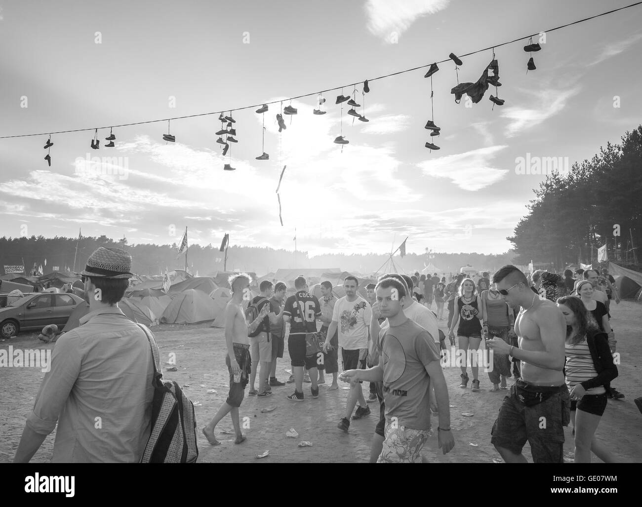 People walking to the main stage on the 21th Woodstock Festival Poland. - Stock Image
