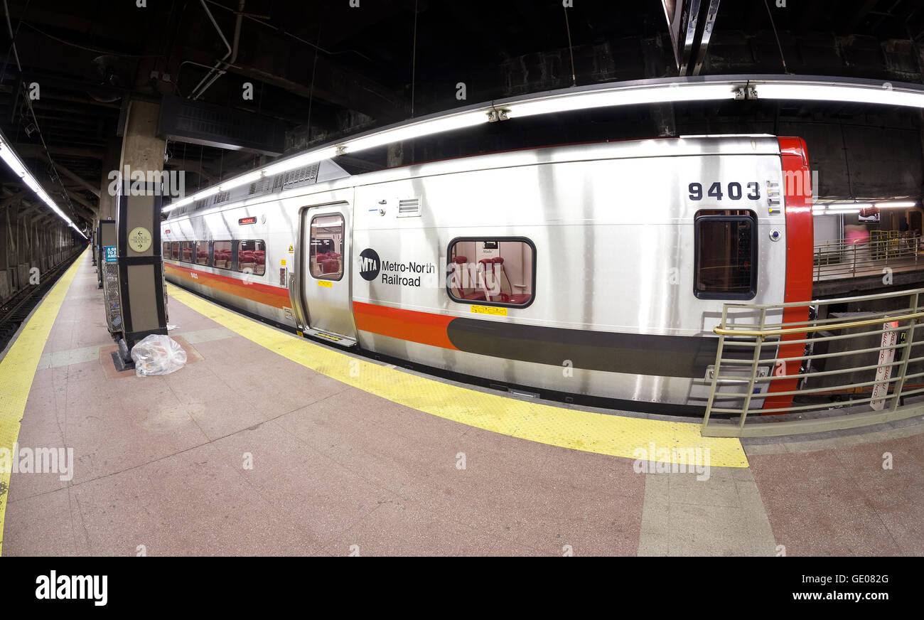 Fisheye lens photo of MTA train at the Grand Central Terminal. - Stock Image