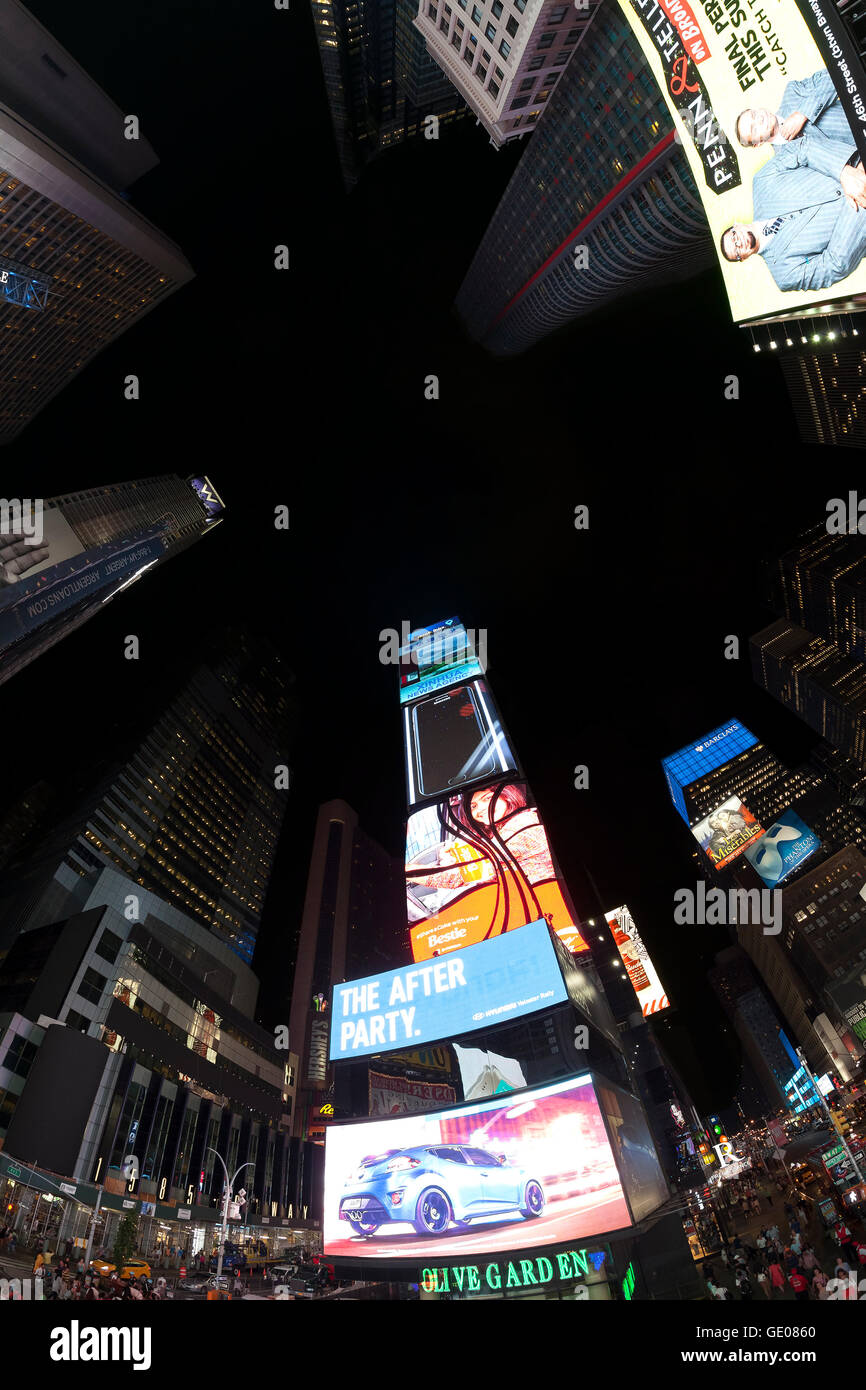 Fisheye lens photo of Times Squares at night. - Stock Image