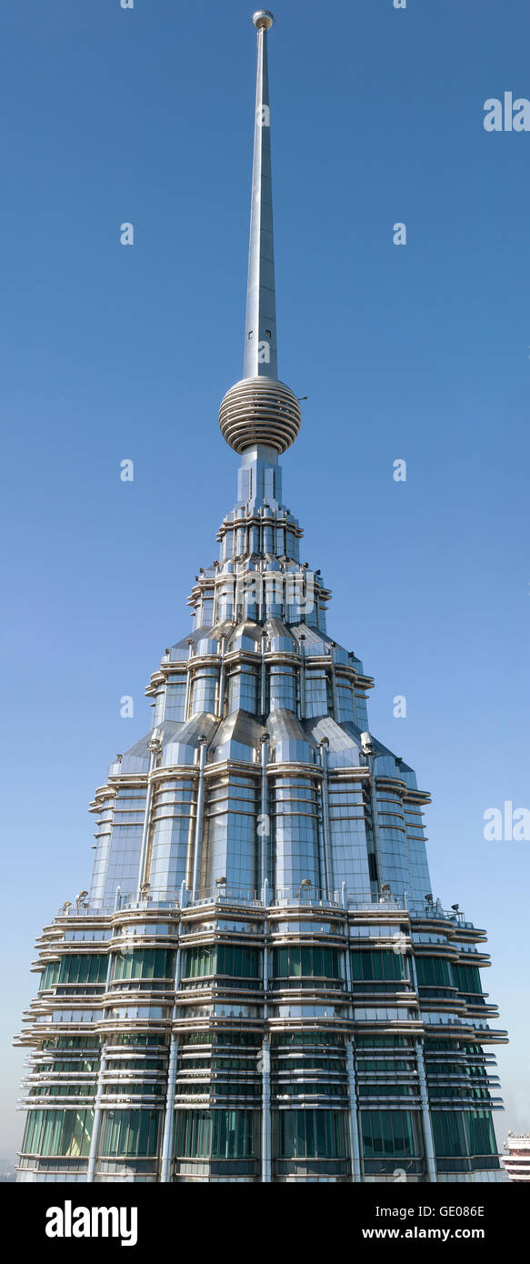 High quality picture of one of Petronas Twin Towers pinnacle. - Stock Image