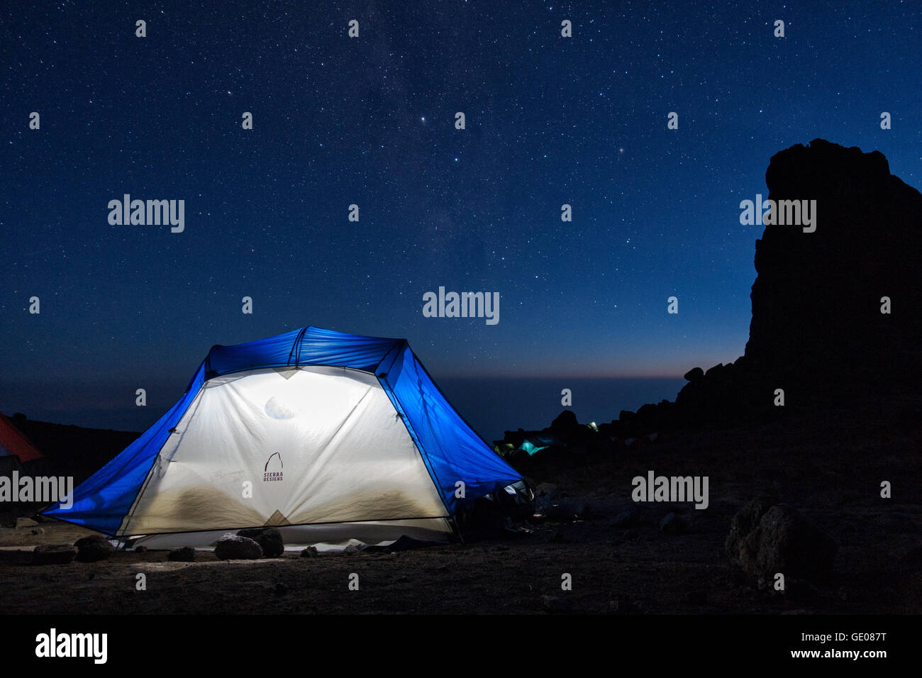 A tent at Lava Tower Camp at night, Mount Kilimanjaro National Park, Tanzania Stock Photo
