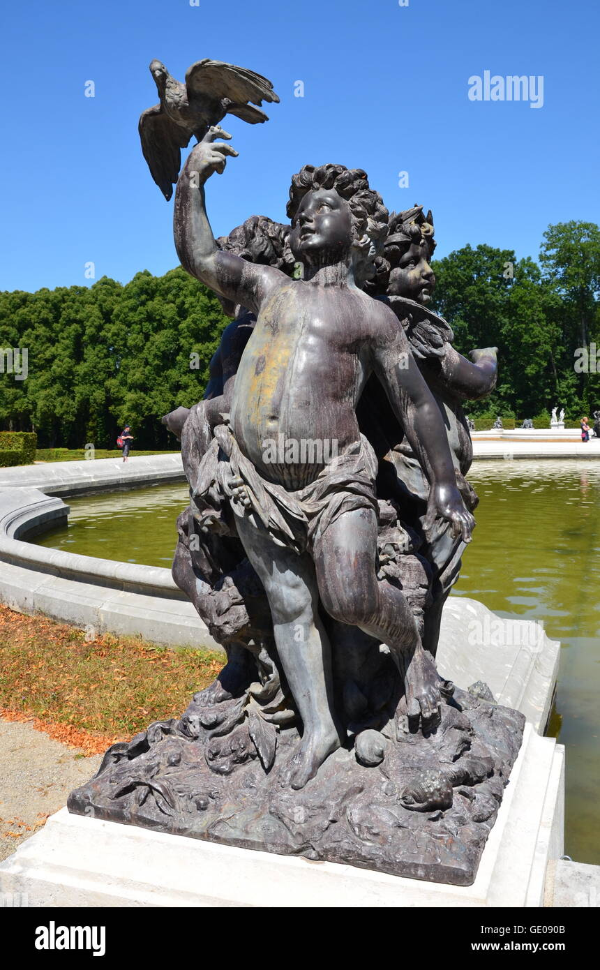 geography / travel, Germany, Bavaria, Herrenchiemsee, castle park, sculpture on a fountain, Additional-Rights-Clearance - Stock Image