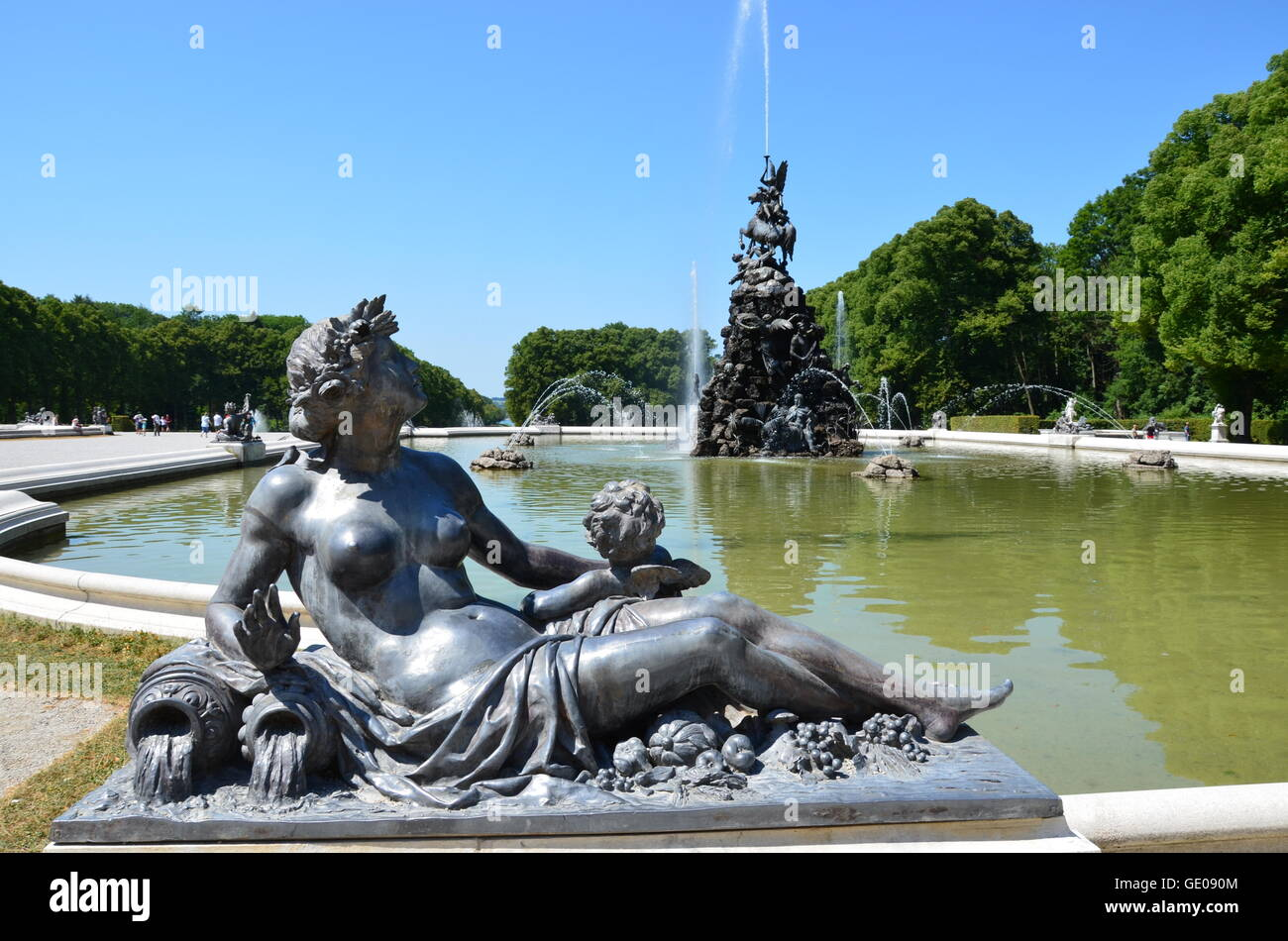geography / travel, Germany, Bavaria, Herrenchiemsee, castle park, Additional-Rights-Clearance-Info-Not-Available - Stock Image
