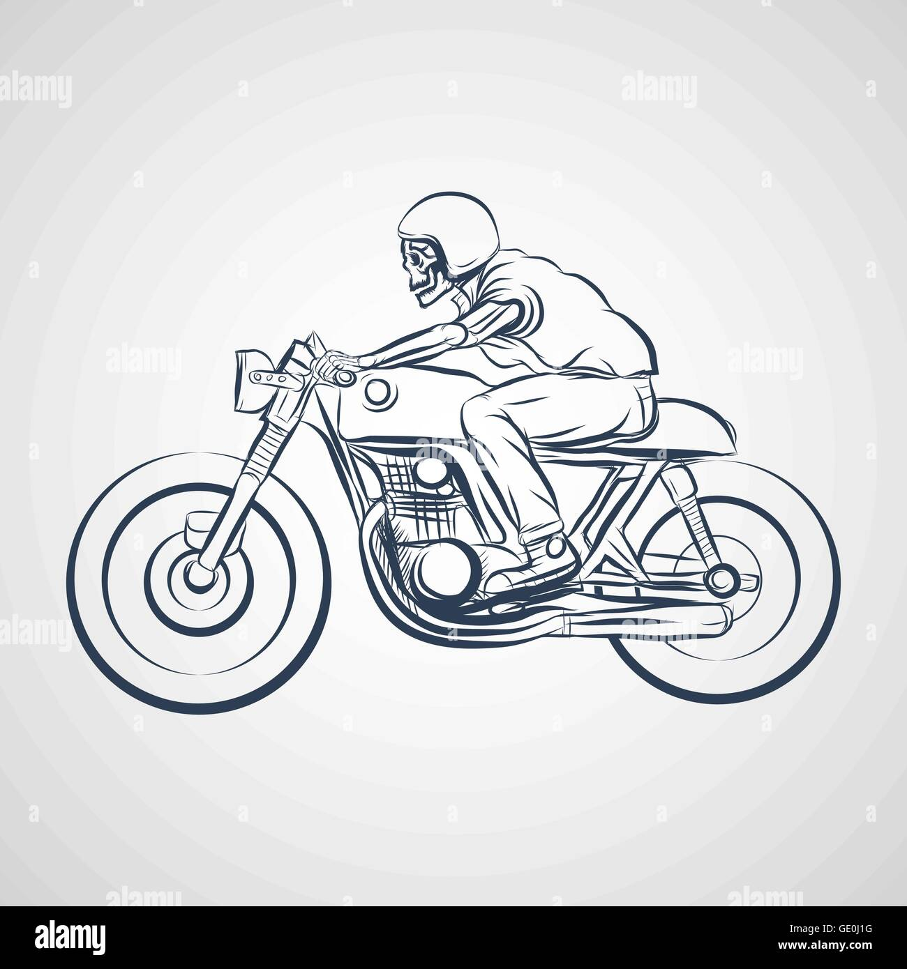 Skull Ride A Classic Cafe Racer Motorcycle Stock Vector Art