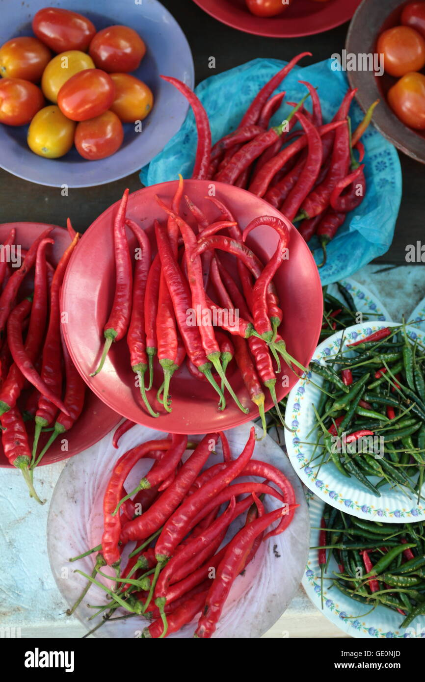fegetable at the market in the city of Bandar seri Begawan in the country of Brunei Darussalam on Borneo in Southeastasia. - Stock Image