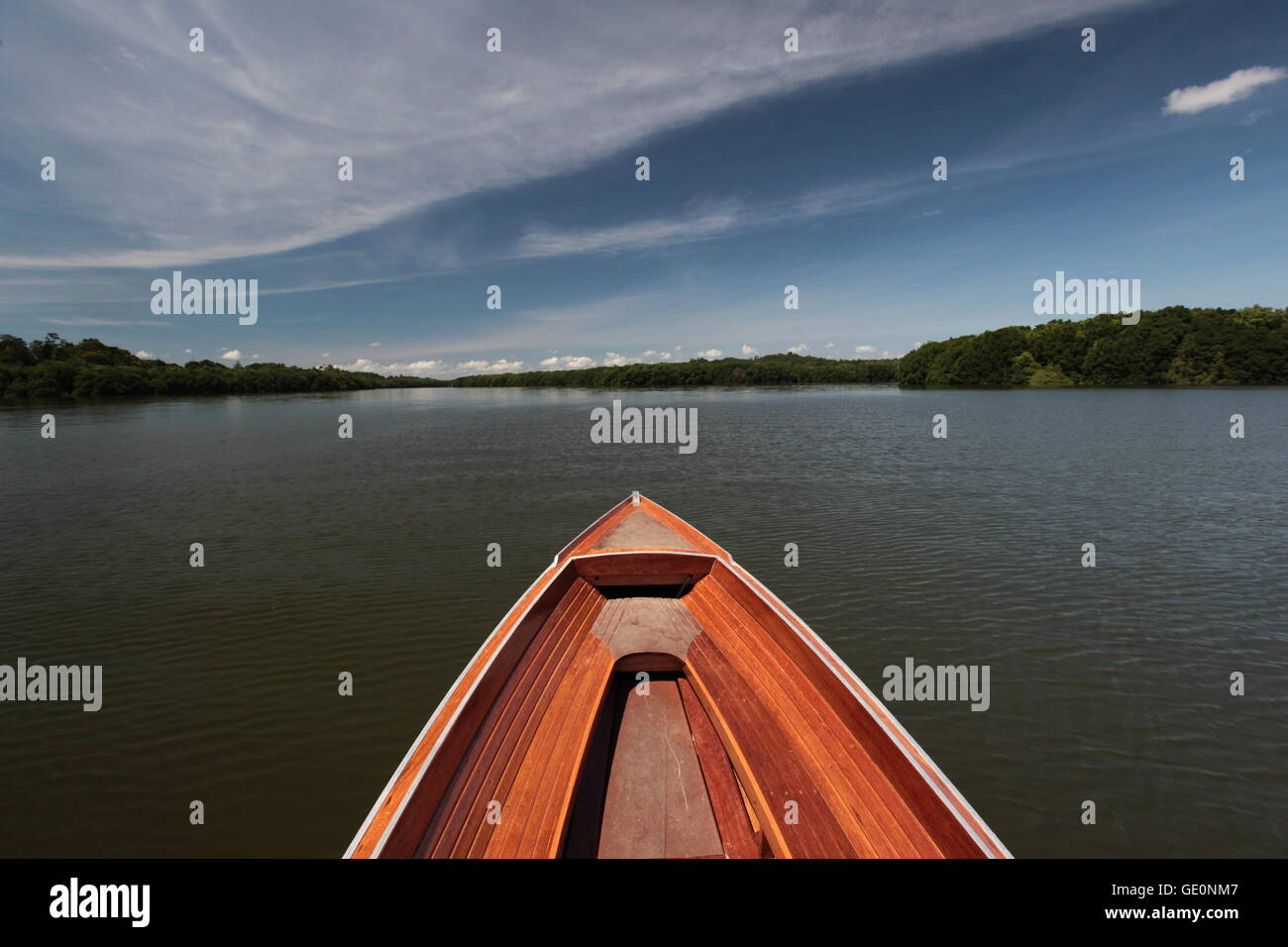 the landscape of the lagoon near the city of Bandar seri Begawan in the country of Brunei Darussalam on Borneo in - Stock Image