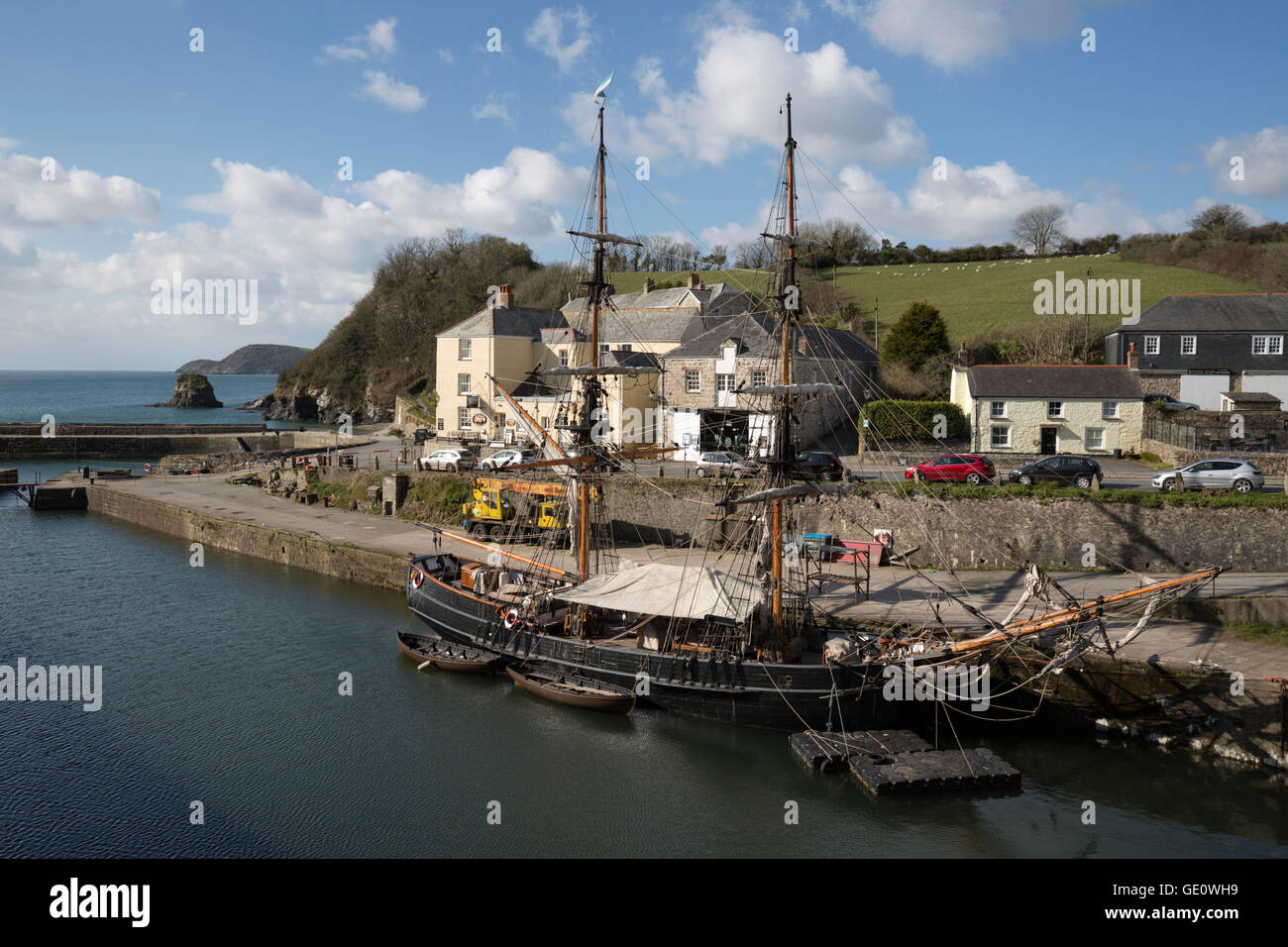 Tall ship in historic harbour, Charlestown, near St Austell, Cornwall, England, United Kingdom, Europe - Stock Image