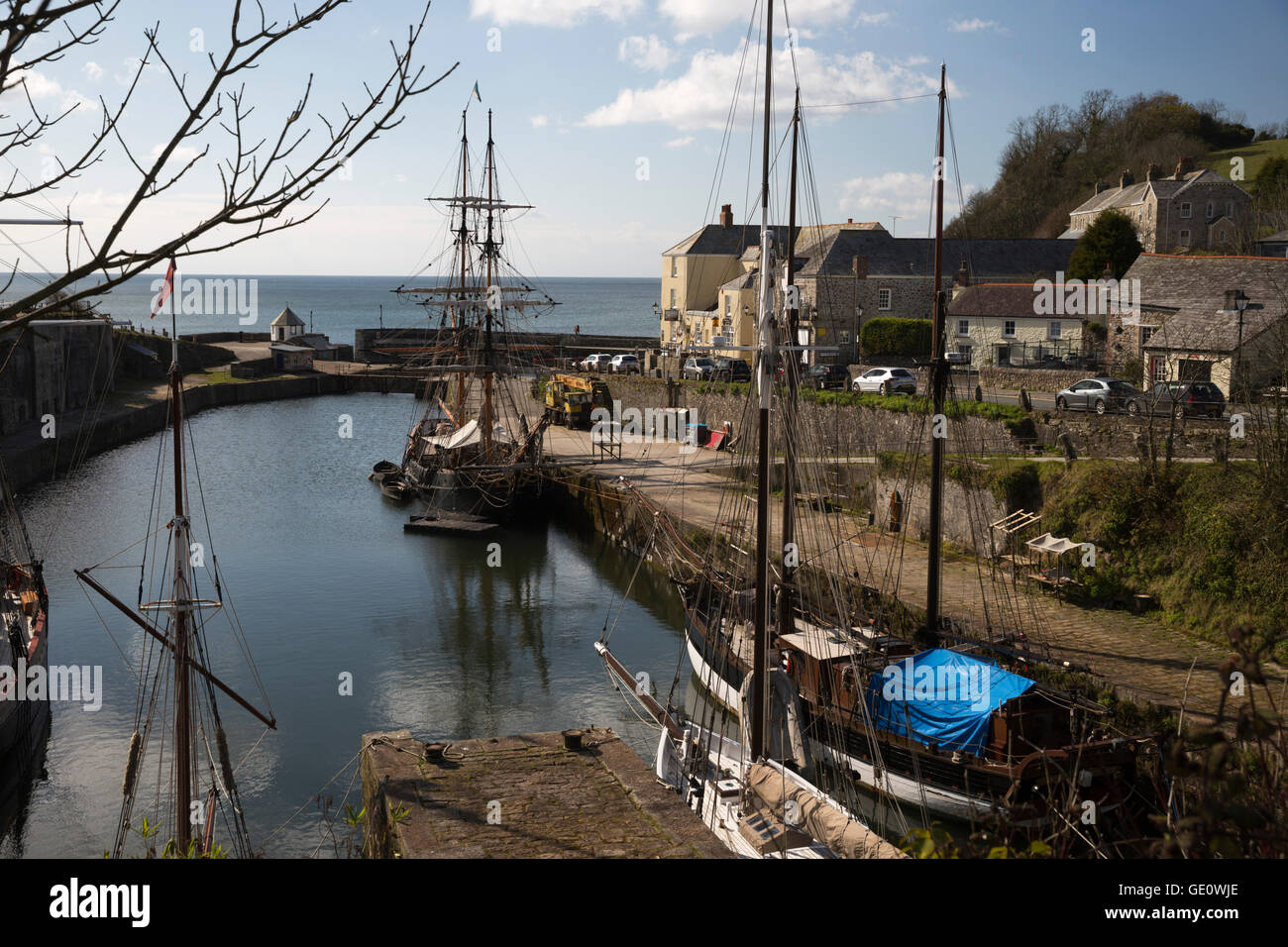 Tall ships in historic harbour, Charlestown, near St Austell, Cornwall, England, United Kingdom, Europe - Stock Image