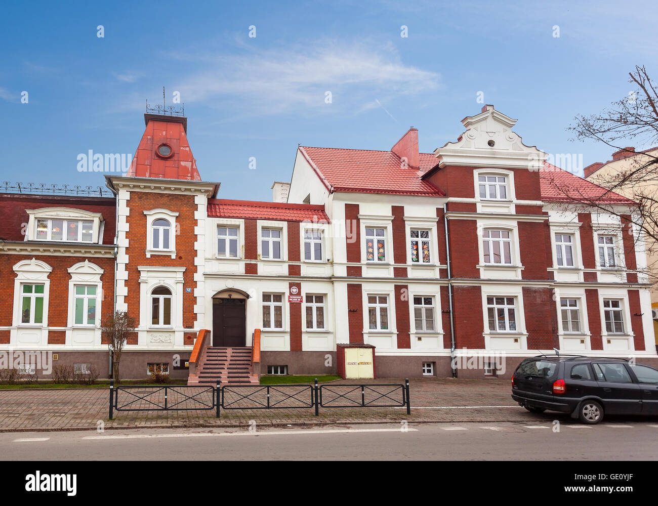 Bialogard, Poland - November 27, 2014: Public kindergarten nr 1 located in historic building in Bialogard. - Stock Image