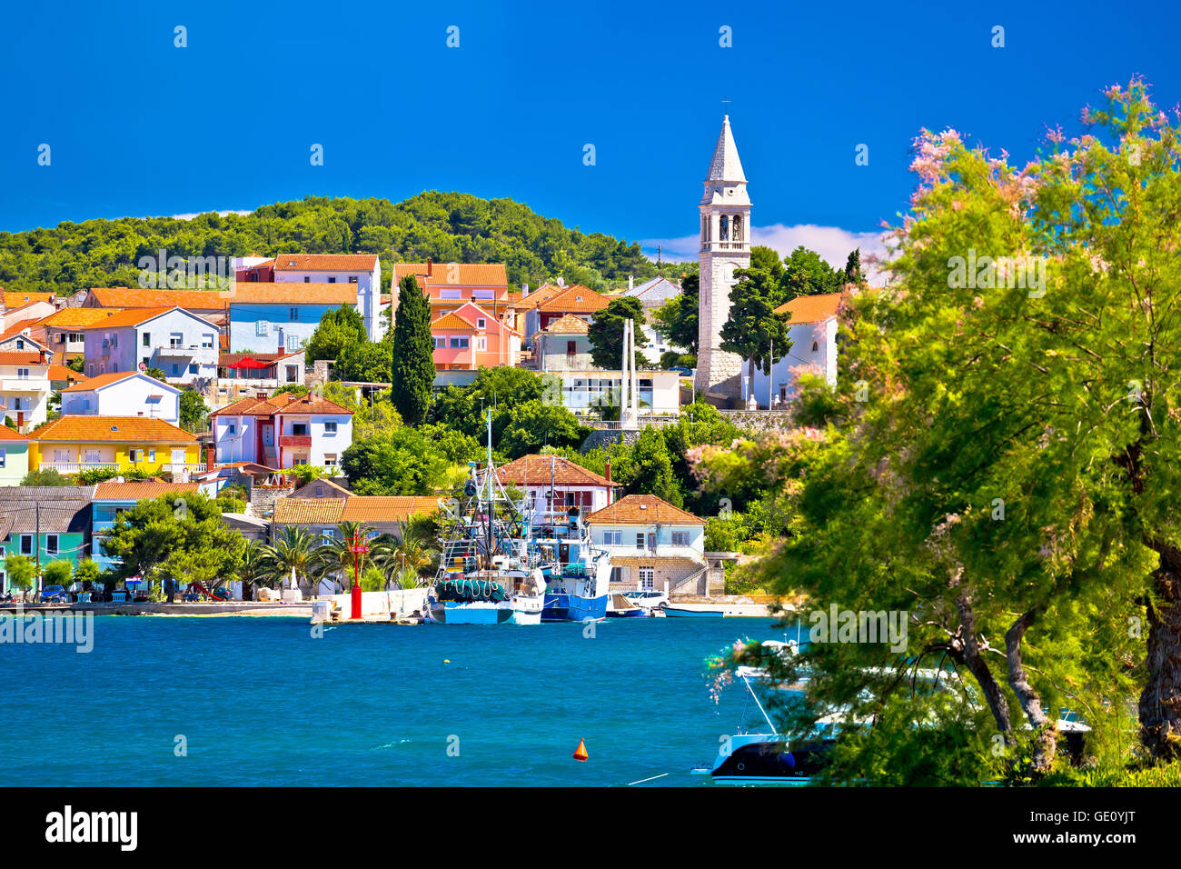 Kali harbor and waterfront summer view, Island of Ugljan, Croatia - Stock Image