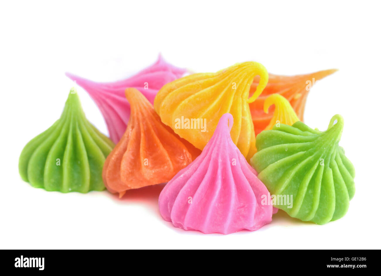 Close-up of colorful candy. 'A-lua' Thai style handmade candy sweet dessert . - Stock Image