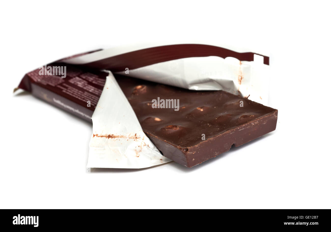 chocolate bar isolated on a white background. - Stock Image