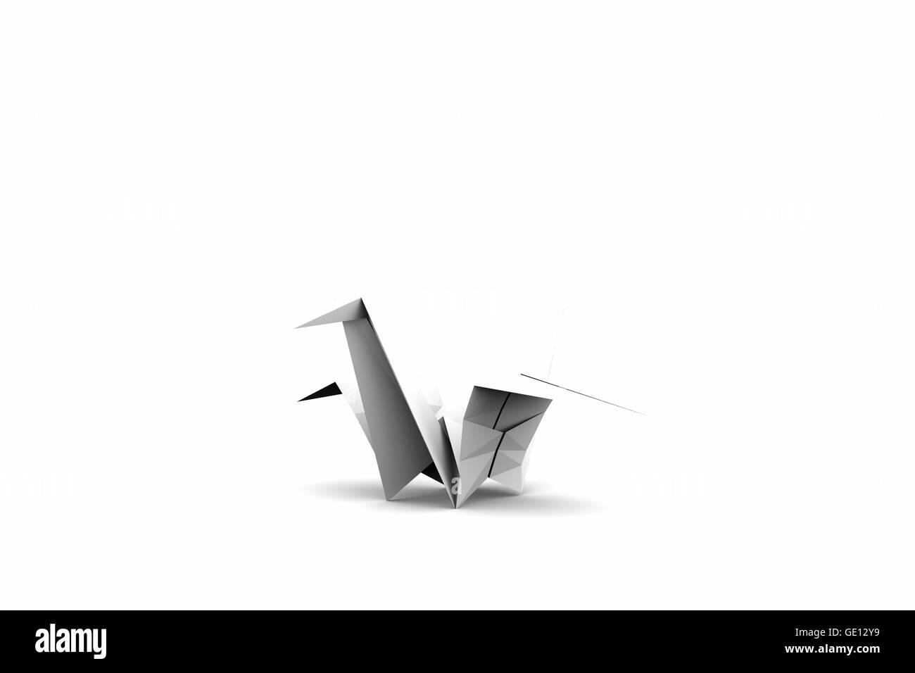 Origami Crane Isolated On White Background