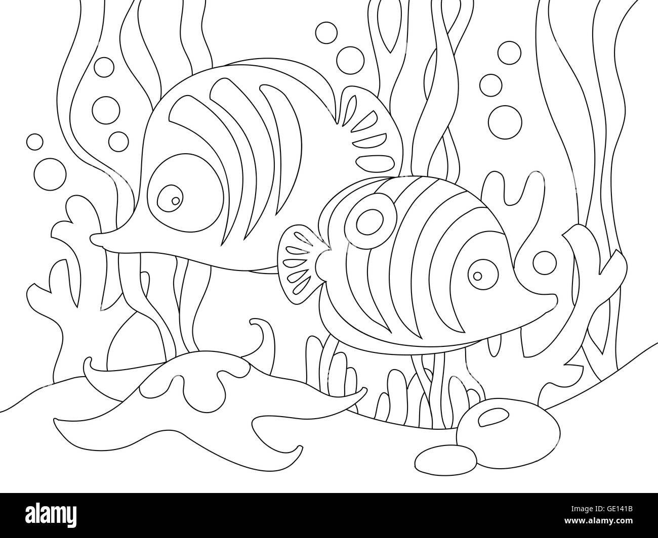 Two cute cartoon fishes under the sea. - Stock Image
