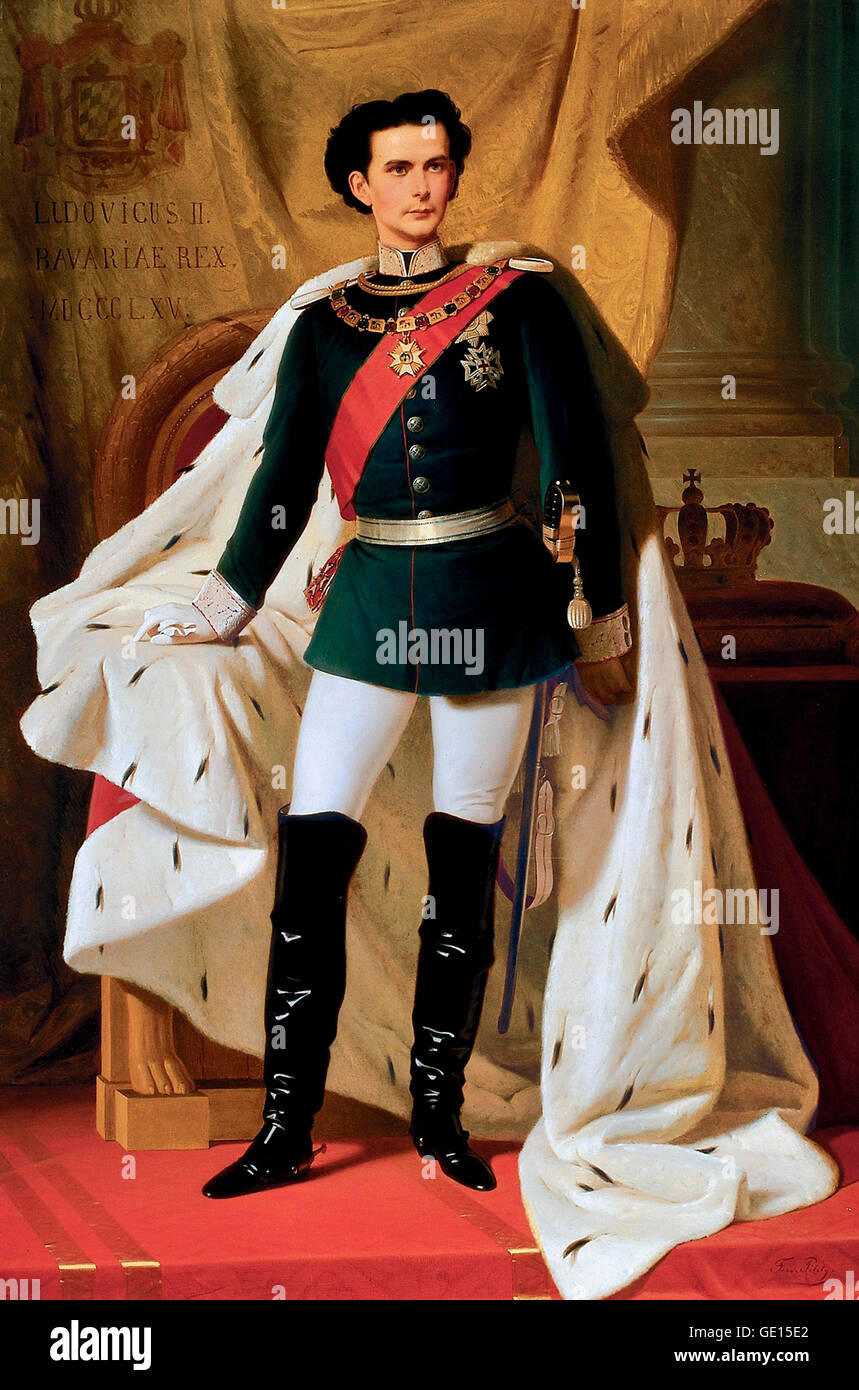 Coronation portrait of Ludwig II (1845-1886), King of Bavaria from 1864 until his death in 1886. Painting by Ferdinand - Stock Image