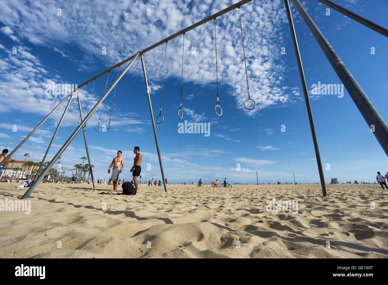 SANTA MONICA, USA - JUNE 18, 2016: Muscle beach is the birth place of the physical fitness boom in the US - Stock Image