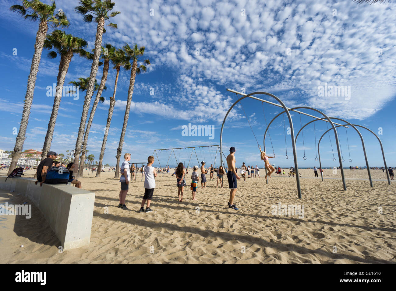 SANTA MONICA, USA - JUNE 18, 2016: Muscle beach is the birth place of the physical fitness boom - Stock Image