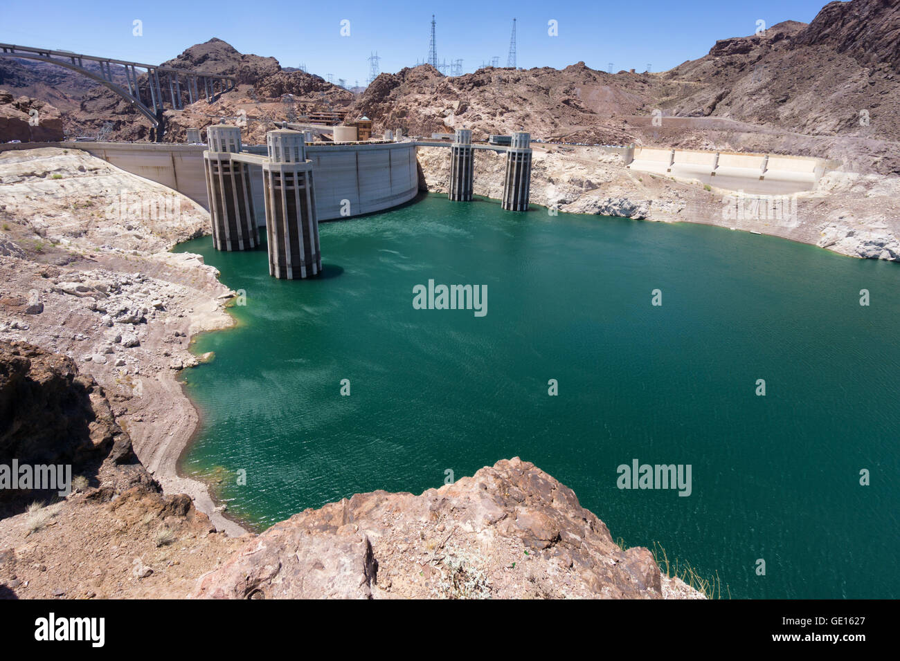 Hoover dam hydroelectric plant Stock Photo