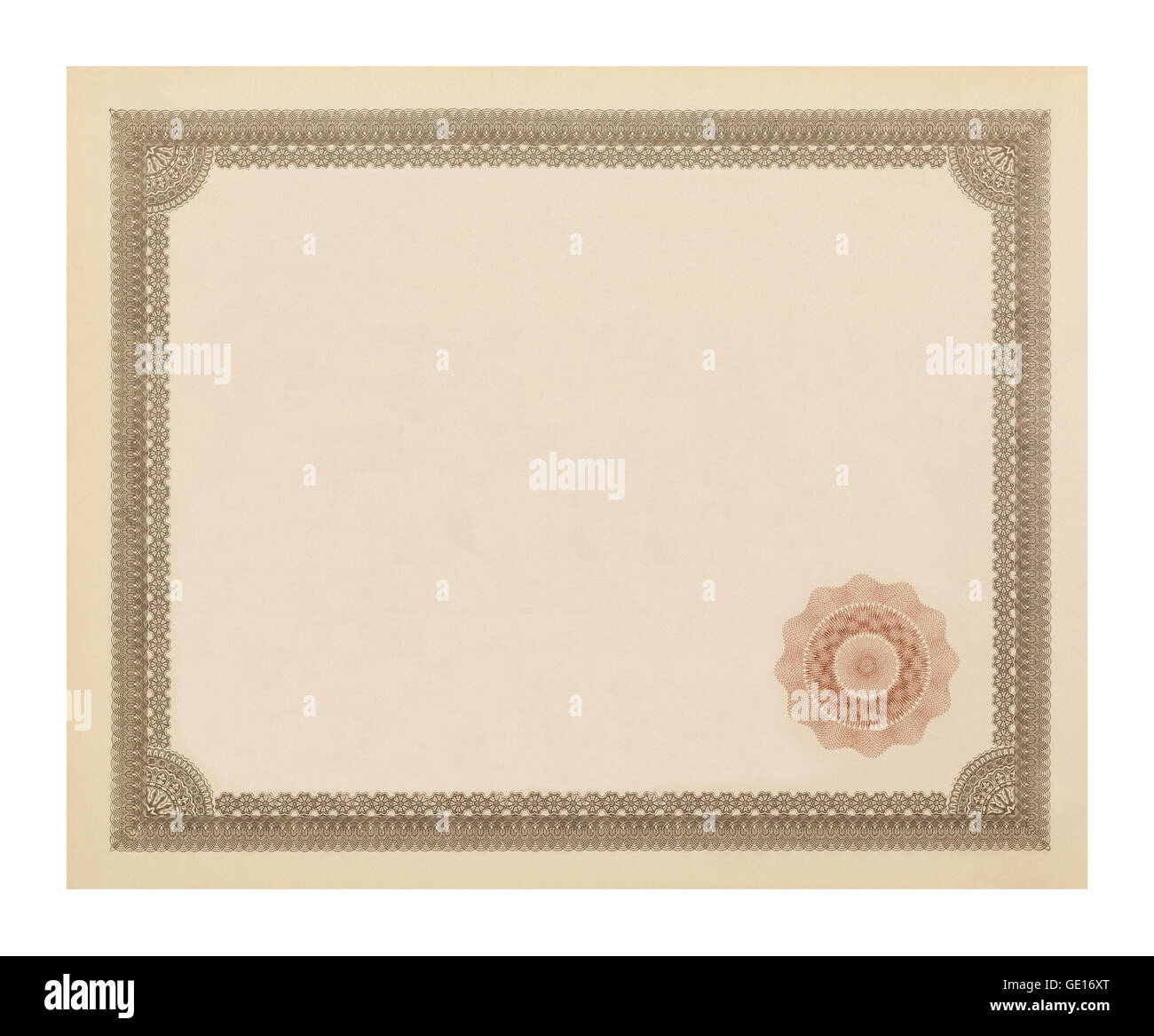 Blank Ornate Old Certificate Isolated on White Background. - Stock Image