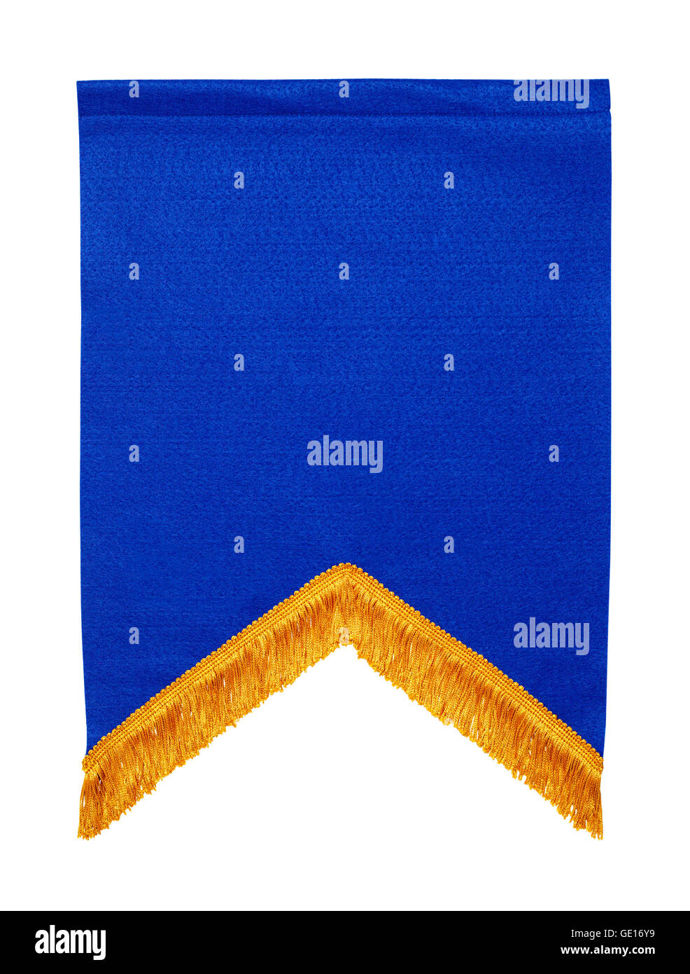 Blue Felt Award Banner Isolated on White Background. - Stock Image