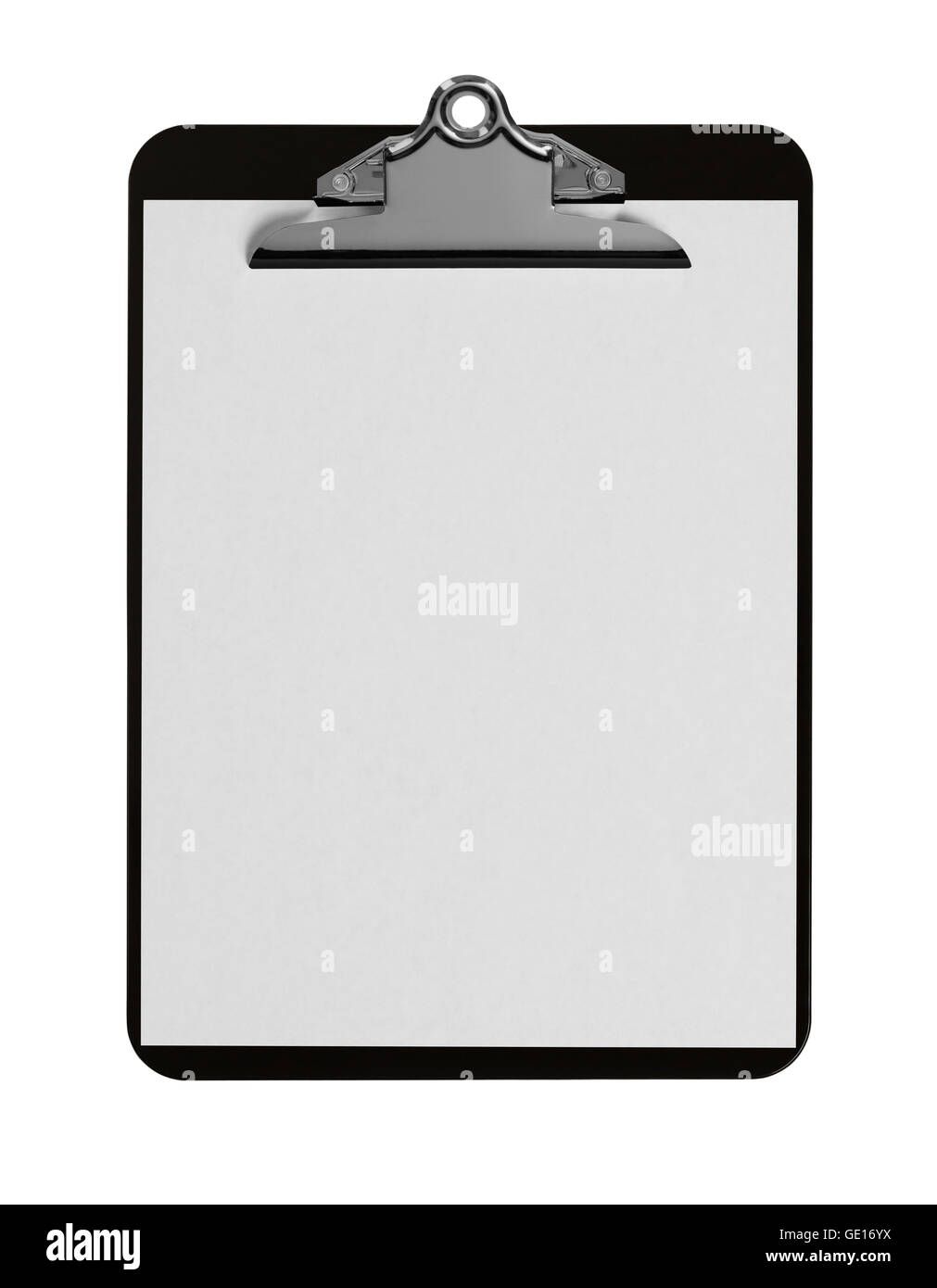 Classic Black Clipboard with Blank White Paper on Isolated Background. - Stock Image